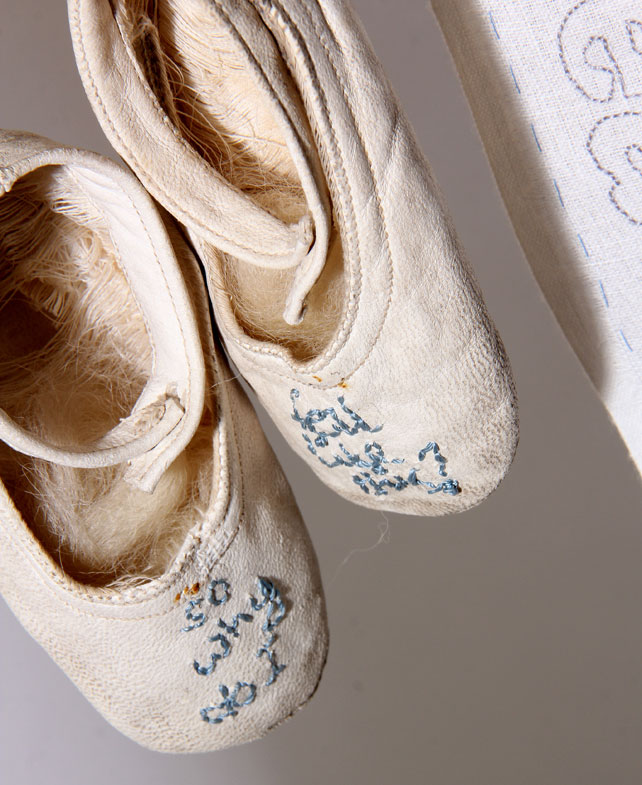 Embroidered vintage baby shoes